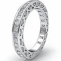 Women's Eternity Wedding Band 14k White Gold Princess Round Diamond Ring 2.7Ct