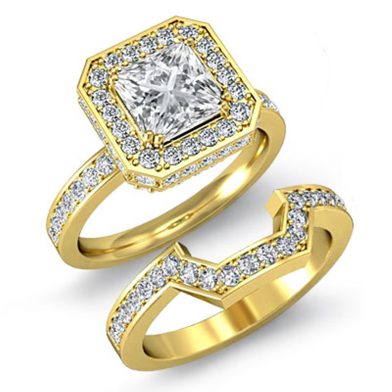 7e7defb610d1e4 ... Bridal Set Princess Diamond Engagement Ring 14k Yellow Gold (2.41ctw.)  <>. Original Image. Orignal image