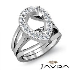 Diamond Engagement Ring Pear Semi Mount 14K White Gold Halo Pave Setting 0.40Ct