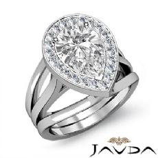 Halo Pave Set Trio Shank Pear diamond engagement Ring in 14k Gold White