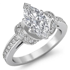 Knot Style Pave Setting Marquise diamond engagement Ring in 14k Gold White