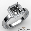 Diamond Engagement Pave Ring Setting Asscher Semi Mount 14k White Gold 1.42Ct - javda.com