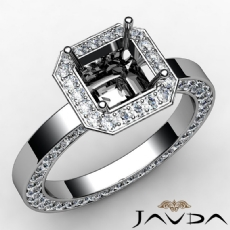 Diamond Engagement Pave Ring Setting Asscher Semi Mount 14k White Gold 1.42 Ct