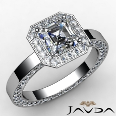 Eternity Halo Filigree Asscher diamond engagement Ring in 14k Gold White