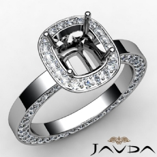 Pave Setting Diamond Engagement Ring 14k White Gold Cushion Semi Mount 1.38 Ct