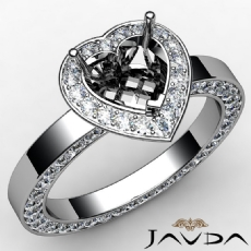 Heart Cut Diamond Engagement Pave Ring Setting 14k White Gold Semi Mount 1.35 Ct