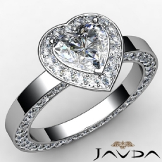 Eternity Channel Set Halo Heart diamond engagement Ring in 14k Gold White