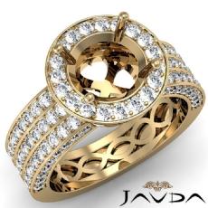 Halo Setting 3 Row Diamond Engagement Round SemiMount Ring 14k Gold Yellow  (1.35Ct. tw.)