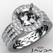 Halo Setting 3 Row Diamond Engagement Round SemiMount Ring 14k White Gold 1.35Ct - javda.com