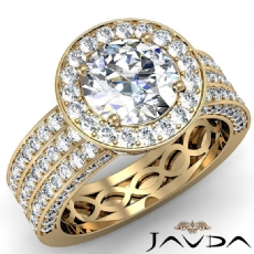 3 Row Pave Shank Halo Filigree Round diamond engagement Ring in 18k Gold Yellow