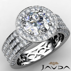 Trio Shank Filigree Halo Round diamond engagement Ring in 14k Gold White