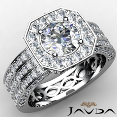 3 Row Pave Set Shank Halo Round diamond  Ring in 14k Gold White