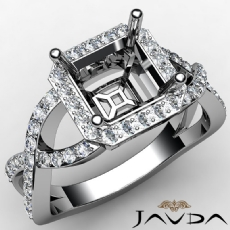 Asscher Semi Mount Diamond Engagement Ring 14K W Gold Split-Curve Shank 0.65Ct