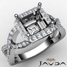 Asscher Semi Mount Diamond Engagement Ring 14K W Gold Split-Curve Shank 0.65Ct
