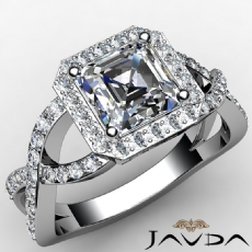 Cross Shank Halo Filigree Asscher diamond engagement Ring in 14k Gold White