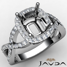 Diamond Engagement Cushion Semi Mount Ring 14K W Gold Split-Curve Shank 0.63Ct