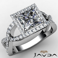 Pave Criss Cross Shank Halo Princess diamond engagement Ring in 14k Gold White