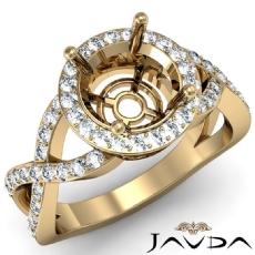 Round Semi Mount Diamond Engagement Ring Split-Curve Shank 14k Gold Yellow  (0.7Ct. tw.)