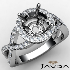 Round Semi Mount Diamond Engagement Ring Split-Curve Shank 14K White Gold 0.7Ct