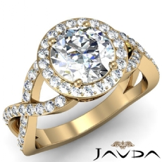 Halo Pave Cross Shank Filigree Round diamond Engagement Ring in 18k Gold Yellow