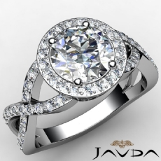 Halo Cross Shank Sidestone Round diamond engagement Ring in 14k Gold White