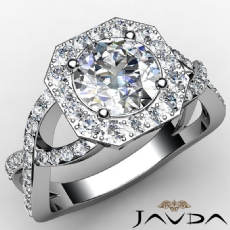 Pave Set Cross Shank Halo Round diamond engagement Ring in 14k Gold White