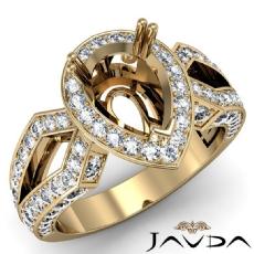 Pear Cut Halo Setting Diamond Engagement Ring Semi Mount 14k Gold Yellow  (1.35Ct. tw.)
