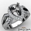 Pear Cut Halo Setting Diamond Engagement Ring Semi Mount 14k White Gold 1.35Ct - javda.com