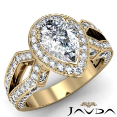 Halo Micro Pave Split Shank Pear diamond engagement Ring in 18k Gold Yellow