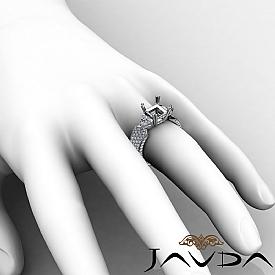 3Stone Diamond Engagement Ring Setting 14k White Gold Princess Semi Mount 2.4Ct.