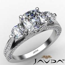 Tapered Three Stone Micropave Cushion diamond engagement Ring in 14k Gold White