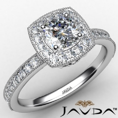 Milgrain Halo Micro Pave Bezel Cushion diamond engagement Ring in 14k Gold White