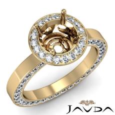 Round Cut Semi Mount Pave Setting Diamond Engagement Ring 14k Gold Yellow  (1.33Ct. tw.)