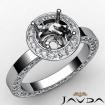 Round Cut Semi Mount Pave Setting Diamond Engagement Ring 14k White Gold 1.33Ct - javda.com