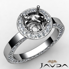 Round Cut Semi Mount Pave Setting Diamond Engagement Ring 14k White Gold 1.33 Ct