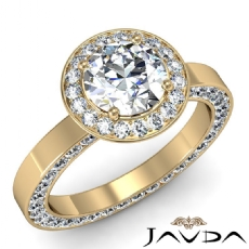 Halo Filigree Basket Eternity Round diamond engagement Ring in 18k Gold Yellow