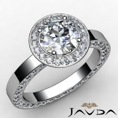 Eternity Pave Halo Filigree Round diamond engagement Ring in 14k Gold White