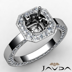 Pave Setting Diamond Engagement Ring 14k White Gold Rount Cut Semi Mount 1.37 Ct