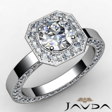 Channel Set Eternity Halo Round diamond engagement Ring in 14k Gold White