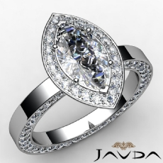 Channel Eternity Halo Pave Marquise diamond engagement Ring in 14k Gold White