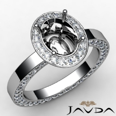 Diamond Engagement Ring Pave Setting Oval Semi Mount 14k White Gold 1.45 Ct