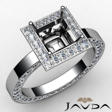Diamond Engagement Princess Semi Mount 14k White Gold Pave Ring Setting 1.47 Ct