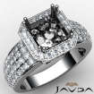Diamond Engagement Ring Asscher Semi Mount 14k White Gold Halo Pave Setting 2Ct - javda.com