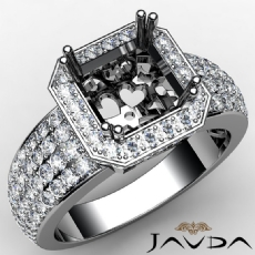 Diamond Engagement Ring Asscher Semi Mount 14k W Gold Halo Pave Setting 2Ct