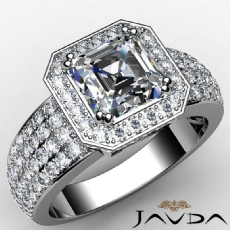 4 Row Shank Circa Halo Pave Asscher diamond  Ring in 14k Gold White