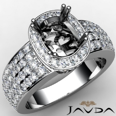 Halo Pre-Set Diamond Engagement Ring Cushion Semi Mount 14k White Gold 2Ct