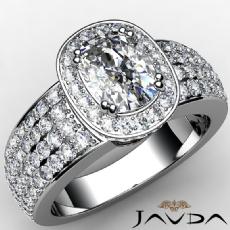 4 Row Shank Circa Halo Cushion diamond engagement Ring in 14k Gold White