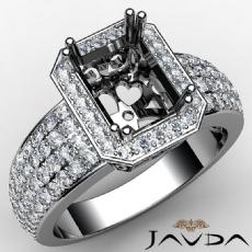 Emerald Semi Mount Halo Pave Set Diamond Engagement Ring 14k White Gold 2Ct