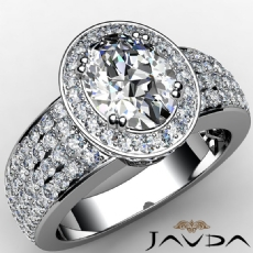 Halo Pave Set 4 Row Shank Oval diamond engagement Ring in 14k Gold White
