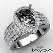 Halo Pre-Set Diamond Engagement Elegant Ring Pear Semi Mount 14k White Gold 2Ct - javda.com